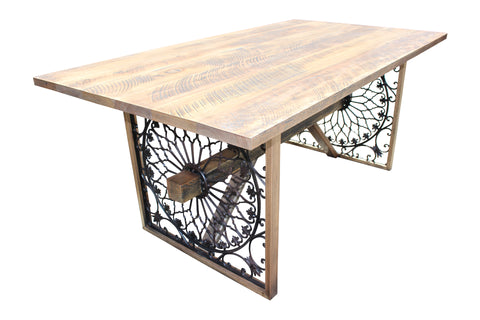 recycled wood and steel dining table made from old balcony and recycled hardwood by Wildwood Designs Sydney