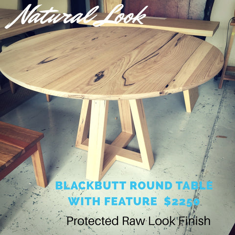 Light timber Raw look round Dining table custom made by Wildwood Designs sydney