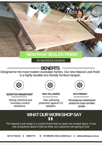 Blackbutt dining table with Raw Look finish for a light timber look Hardwood Dining table