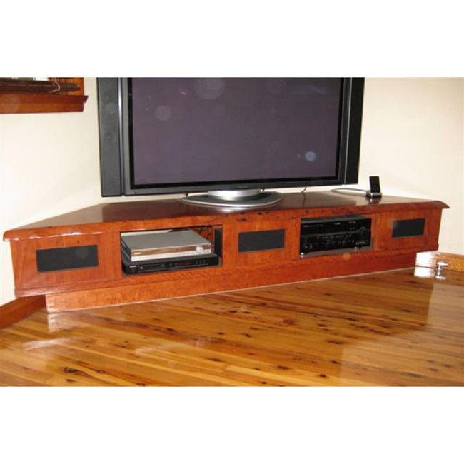Custom made corner entertainment unit design in red gum-tv unit-Wildwood Designs Furniture