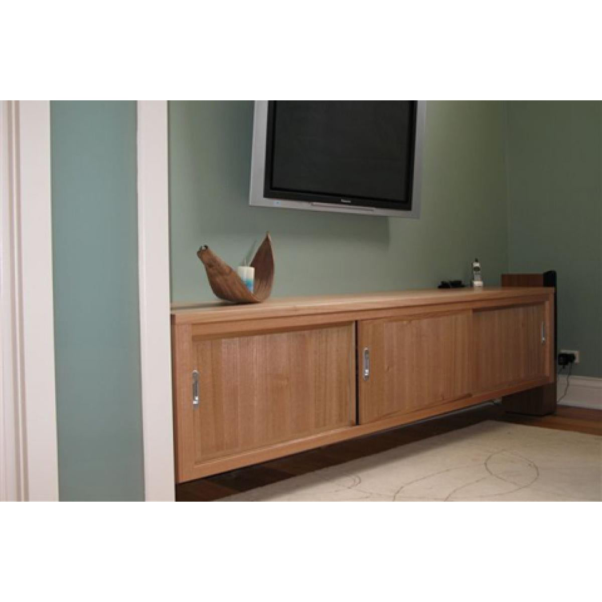 Custom design Tasmanian oak wall hung sliding door entertainment unit-tv unit-Wildwood Designs Furniture