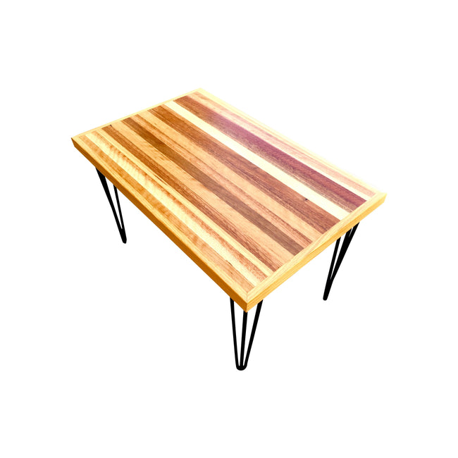 Mixed hardwood top with steel base coffee table 772 x 505 x 480h-coffee table-Wildwood Designs Furniture