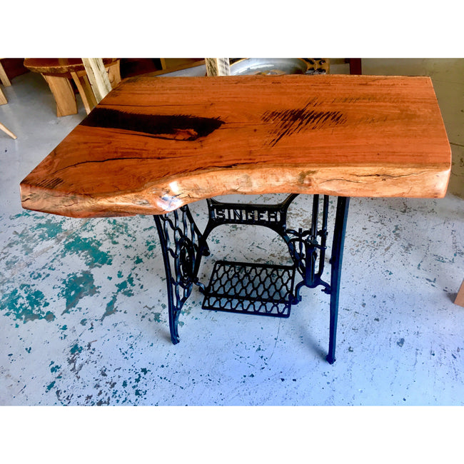 Singer Sewing Base and Red Gum Side Table-side table-Wildwood Designs Furniture