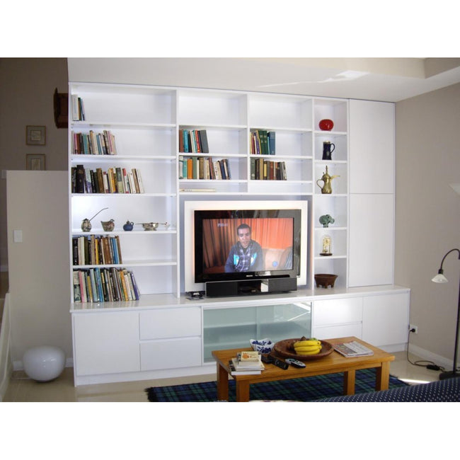 custom white finish bookcase/ent unit-bookcase-Wildwood Designs Furniture