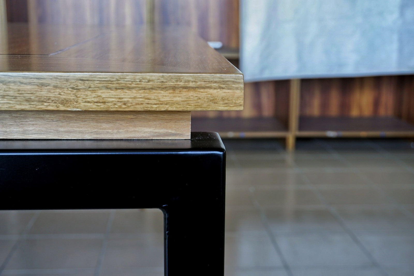Square Floating Top Dining Table - Custom Design - Spotted Gum