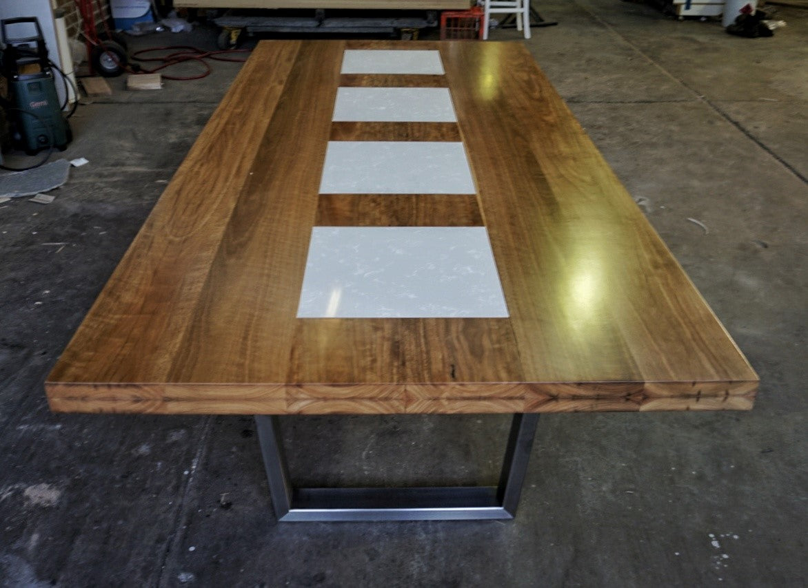 Dining Table - Ellis Collection - Spotted Gum and Carrara Marble