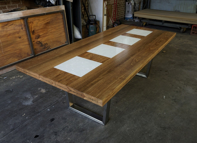 Spotted Gum Dining Table with Carrara Marble