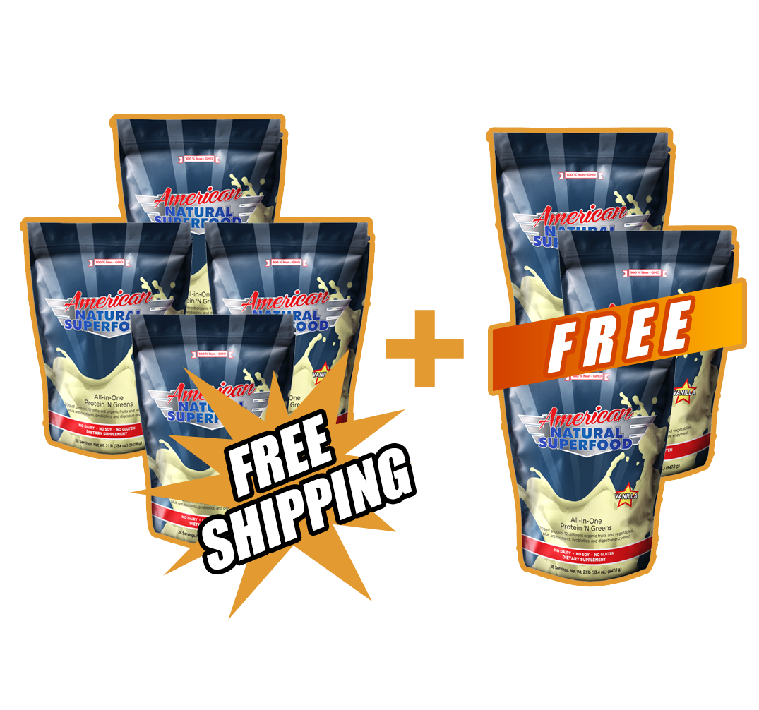 American Super Food Buy 4 Get 3 FREE, Protein & Greens Formula for Weight Loss, Energy, And Meals On The Go