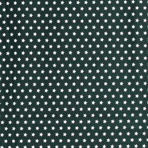 Poplin fabric Stars Dark Green
