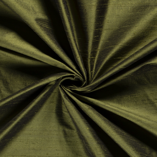 Silk Dupion fabric Unicolour Khaki Green