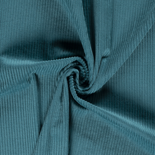 Corduroy fabric Unicolour Petrol