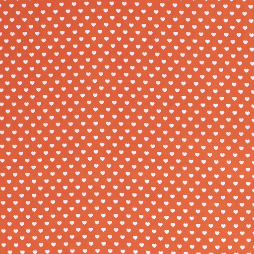 Poplin fabric Hearts Orange