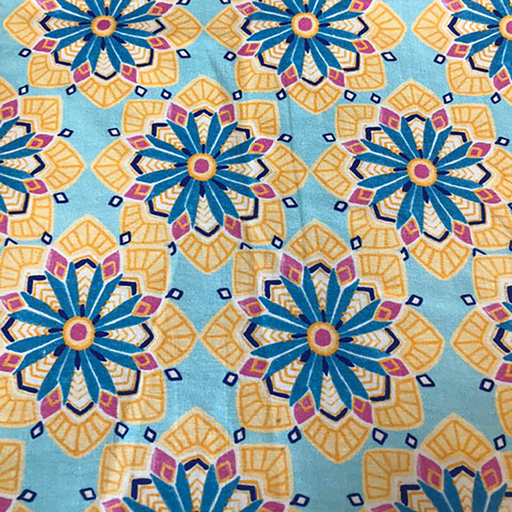 Tricot fabric Flowers Baby Blue