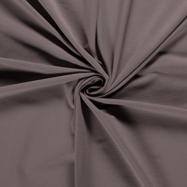 French Terry fabric Unicolour Taupe Brown