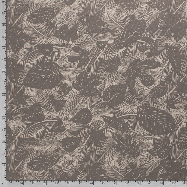 Panama fabric Taupe Brown printed