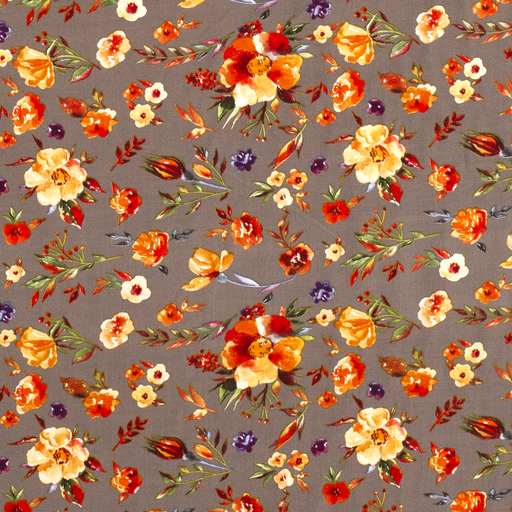 Viscose fabric Flowers Taupe Brown