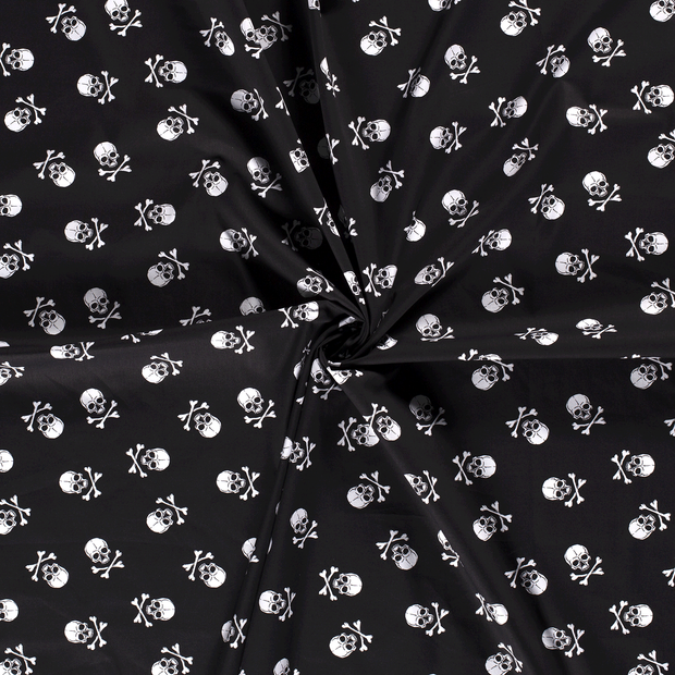 Poplin fabric Black printed
