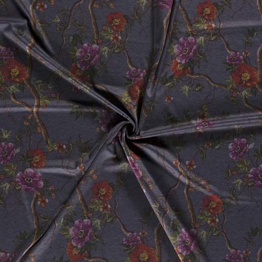 Punta Di Roma fabric Middle Grey printed