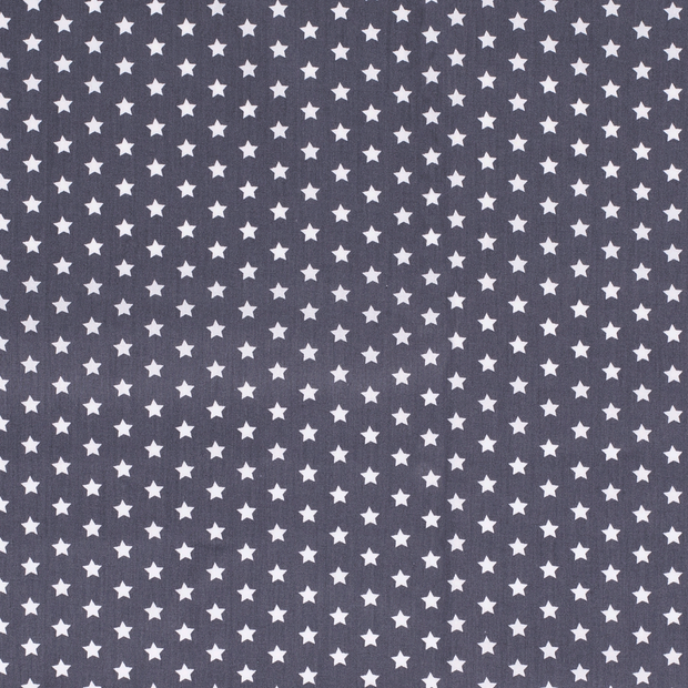 Poplin fabric Stars Middle Grey