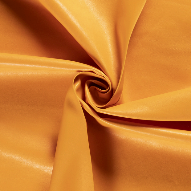 Imitation leather fabric Unicolour Orange