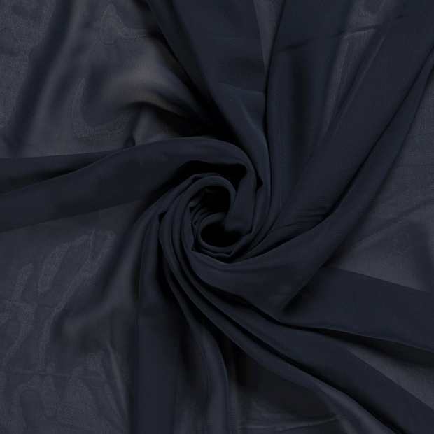 Chiffon fabric Unicolour Navy