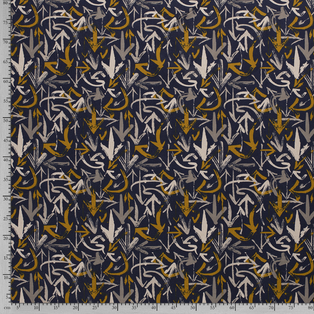 Panama fabric Navy printed