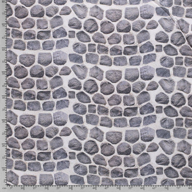 Panama fabric Middle Grey digital printed