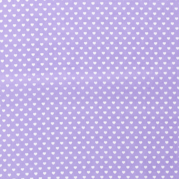 Poplin fabric Hearts Lila
