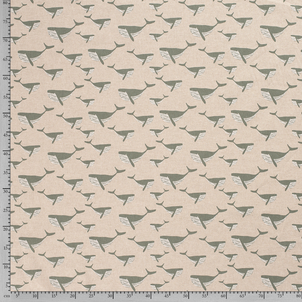 Linen Look fabric Olive printed