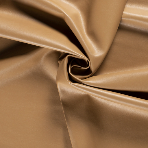 Imitation leather fabric Unicolour Camel