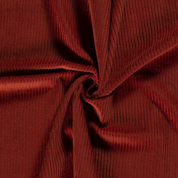 Corduroy fabric Unicolour Brique