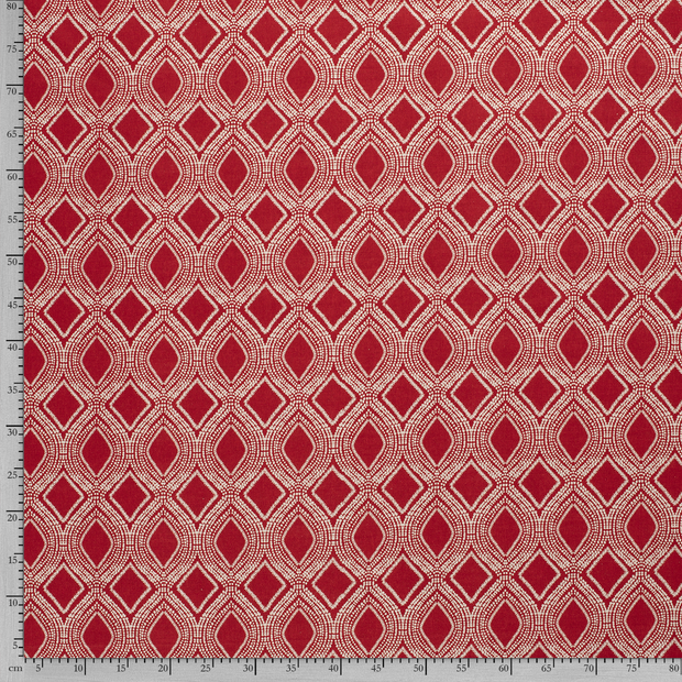 Linen Look fabric Red printed