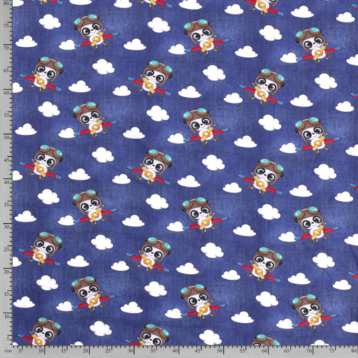 Tricot fabric Animals Navy