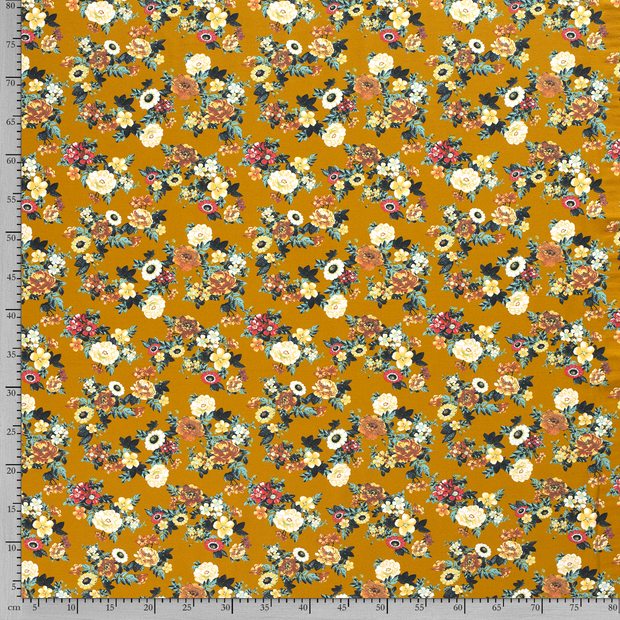 Tricot fabric Flowers printed