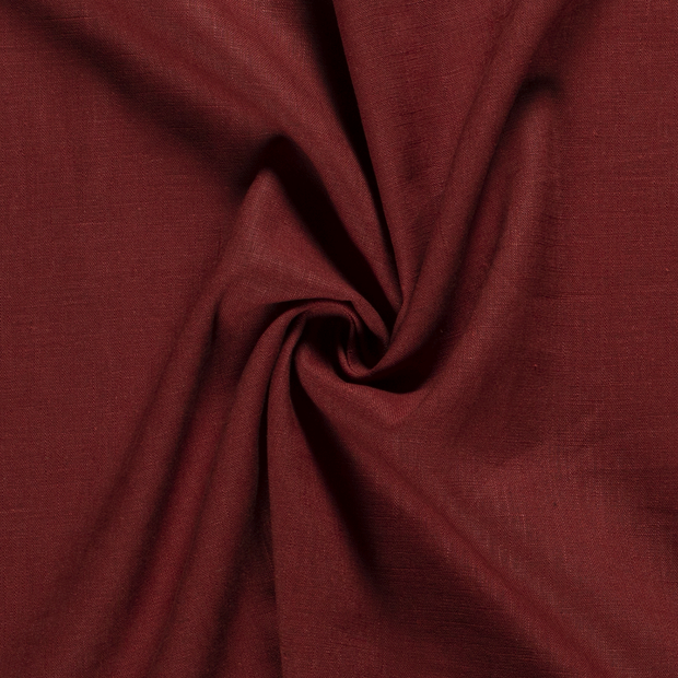 Pure linen fabric Unicolour Brique