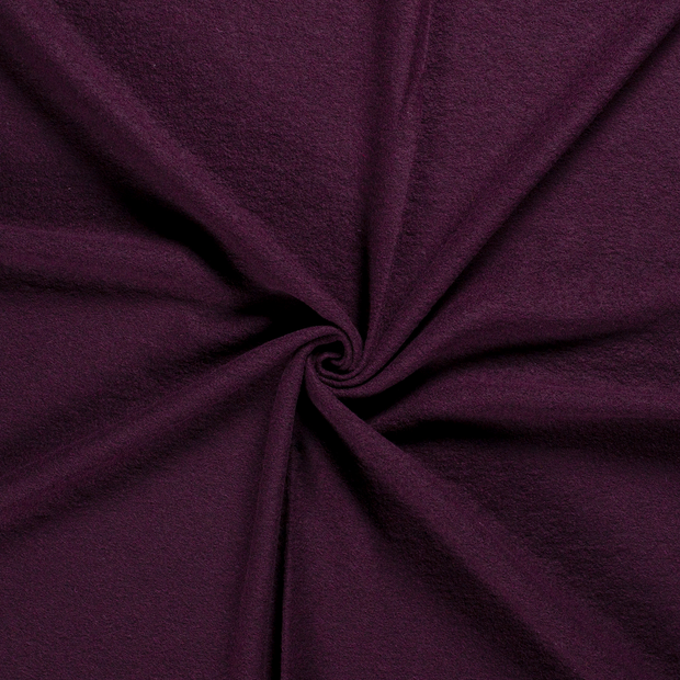 Boiled wool fabric Wine red