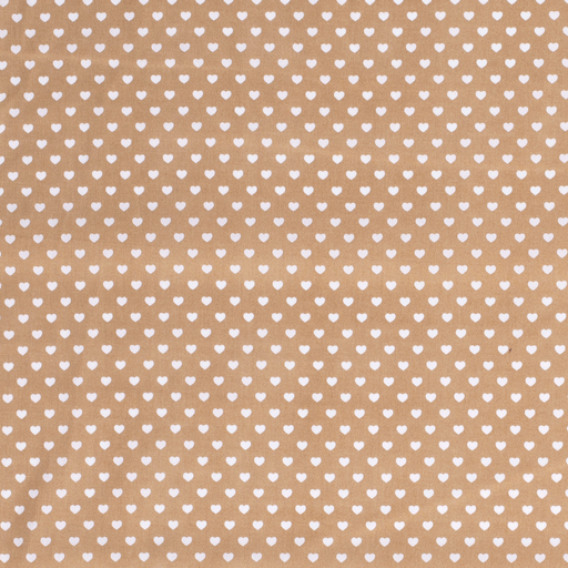 Poplin fabric Hearts Camel