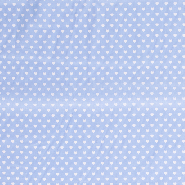 Poplin fabric Hearts Baby Blue