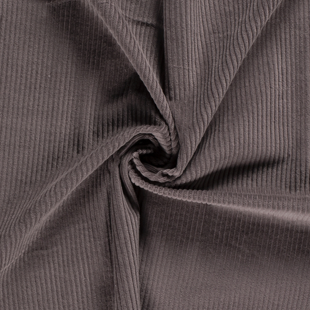 Corduroy fabric Unicolour Taupe Brown