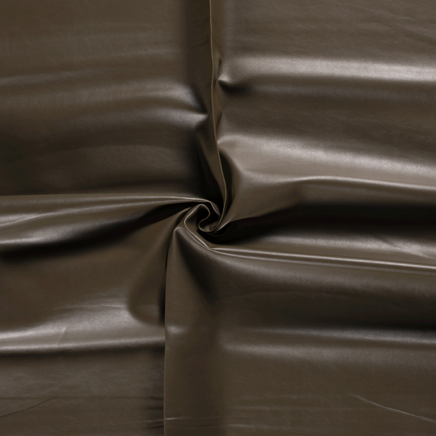 Imitation leather fabric Taupe Brown backed