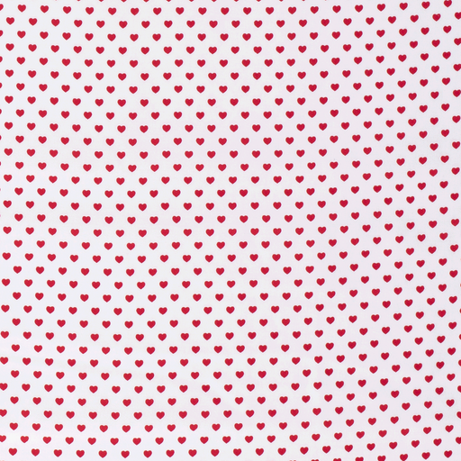 Poplin fabric Hearts Optical White