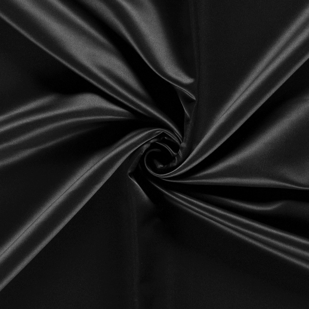 Satin fabric Unicolour Black
