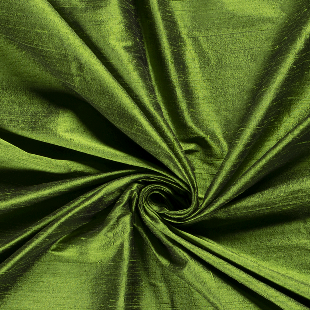 Silk Dupion fabric Unicolour Forest Green
