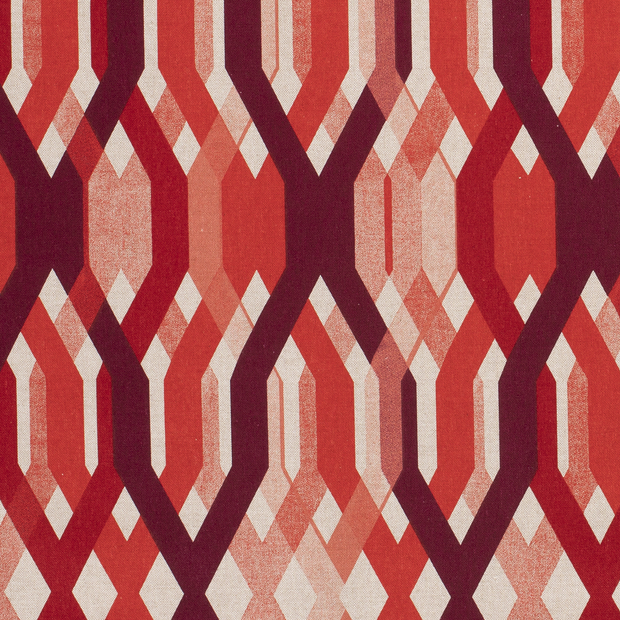 Linen Look fabric Shapes Red
