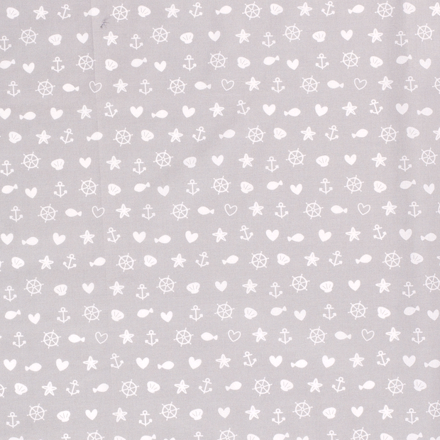 Poplin fabric Maritime Light Grey