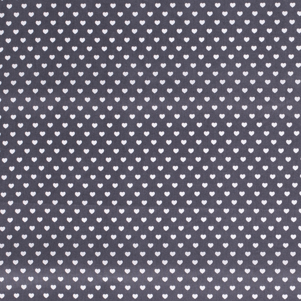 Poplin fabric Hearts Middle Grey