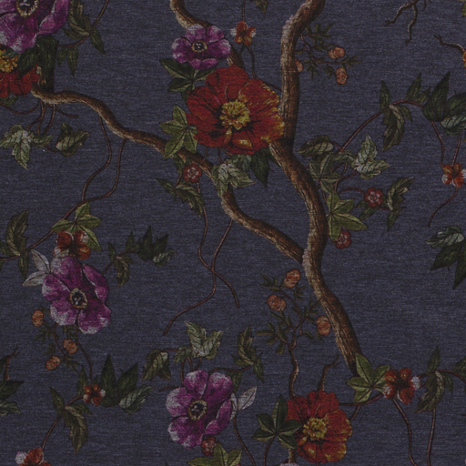 Punta Di Roma fabric Flowers Middle Grey