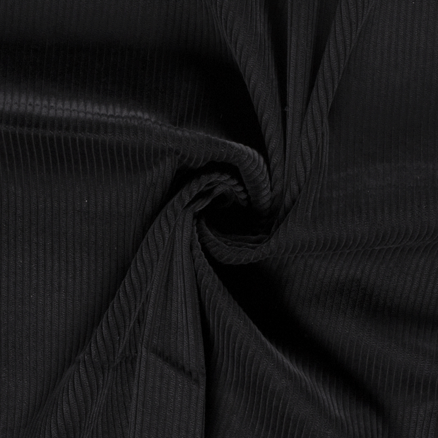 Corduroy fabric Unicolour Black