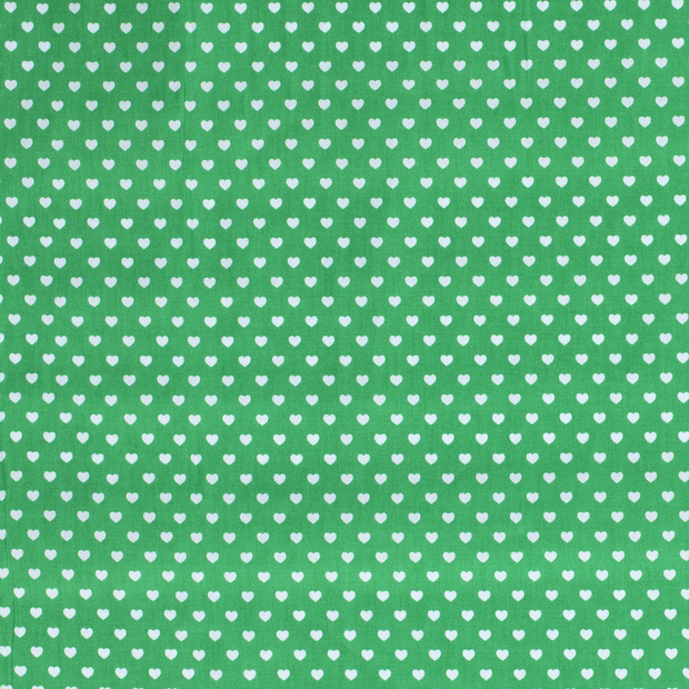 Poplin fabric Hearts Green