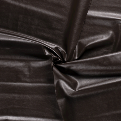 Imitation leather fabric Dark Brown backed